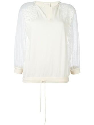 sweatshirt women lace nude cotton silk sweater