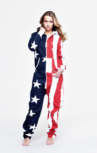 pants onesie jumper america american flag flag red white blue