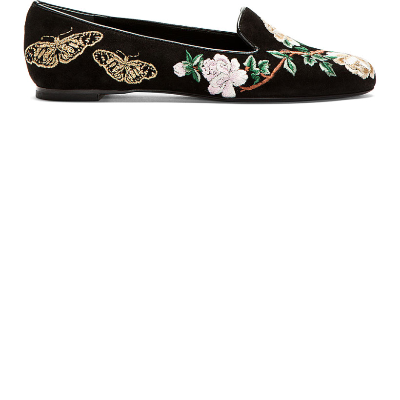 Alexander McQueen - Black & Gold Suede Embroidered Loafers | SSENSE