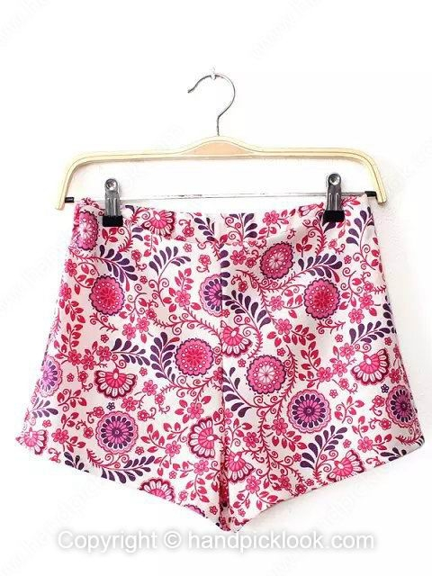 Red Mid Waist Flowers Print Shorts - HandpickLook.com