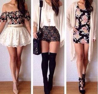 skirt floral shirt off the shoulder top