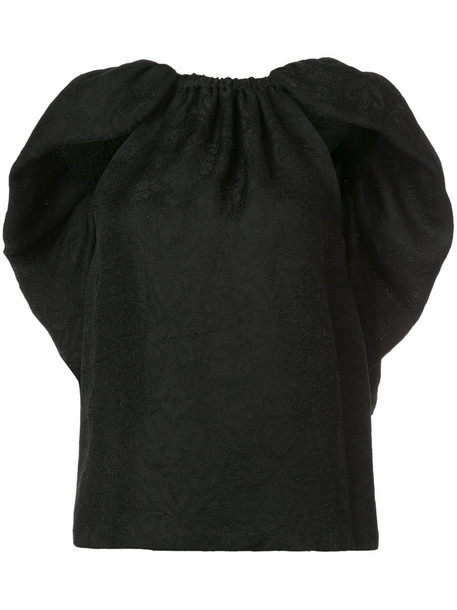 Rosie Assoulin top back ruffle women black silk