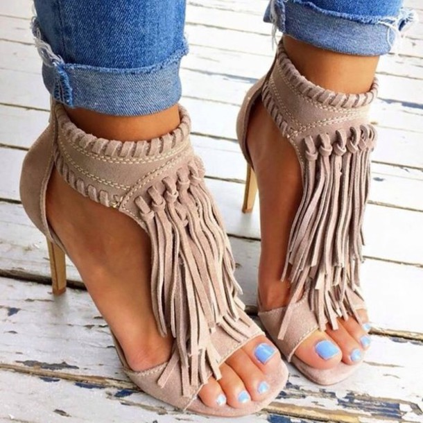 16d8857b3 shoes fringes tan heels cute tassel nude sandals taupe heels nude heels  fringe shoes nude shoes