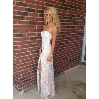 dress white sequins sequin dress prom debs ball prom dress white dress sparkle sparkly dress