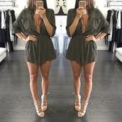 dress,green,khaki,short,button up,buttons,long sleeves,pretty,romper
