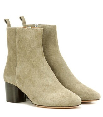 suede ankle boots boots ankle boots suede green shoes