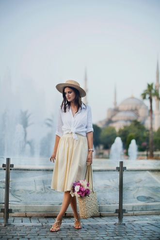 the bow-tie blogger skirt shirt bag hat shoes basket bag summer outfits tie-front top sandals white shirt