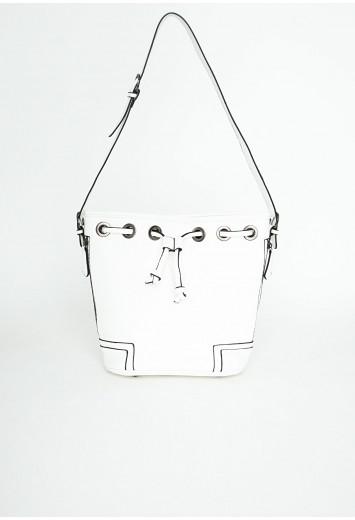 Missguided - Leola White Zip Drawstring Bag