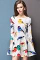 3/4 Sleeve Bird Dress - OASAP.com
