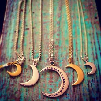 jewels lunar luna moon bronze astral crescent moon crescent moon necklace