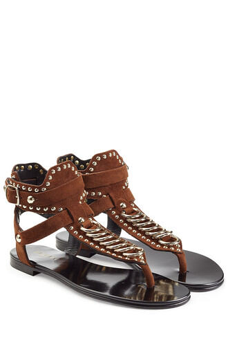 embellished sandals suede brown shoes