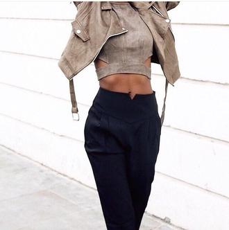 shirt crop tops suede pants black loose