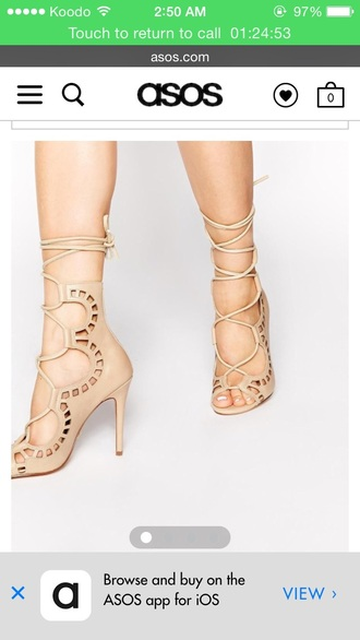 shoes lace up beige dress beige high heels high heels strappy heels