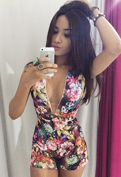 jumpsuit flowers floral pretty tumblr pattern summer