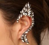 jewels,ear cuff,earrings,diamonds,silver jewelry