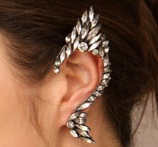 jewels ear cuff earrings ear cuff diamonds silver jewelry