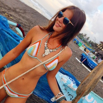 swimwear crochet bikini bikini crochet colourful bikini colorful bikini crochet bikini bottoms sunglasses boho hippie colorful bikini tribal crochet bikini top jewelry jewellery boho jewelry boho jewels