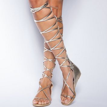 Gold Gladiator Sandals — Bib   Tuck on Wanelo