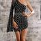 One shoulder plaid sequin mini dress