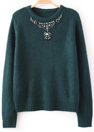 green sweater knitted sweater green knit sweater beaded sweater bead detail long sleeve sweater rounded neckline www.ustrendy.com