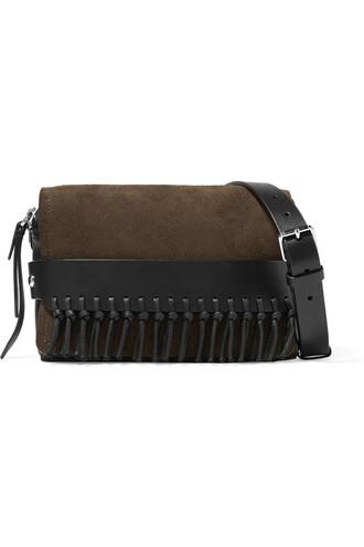 bag shoulder bag leather suede black brown