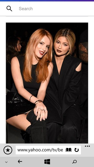 make-up dark dark lipstick all black everything black mini dress plunge v neck plunge dress cut-out gold jewelry thigh high boots thigh-high boots red hair blonde hair kylie jenner bella thorne kylie jenner dress friends fashion fabulous