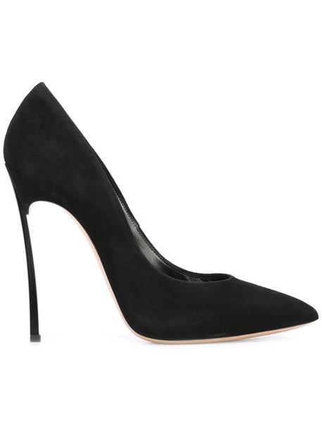 CASADEI women pumps leather suede black shoes