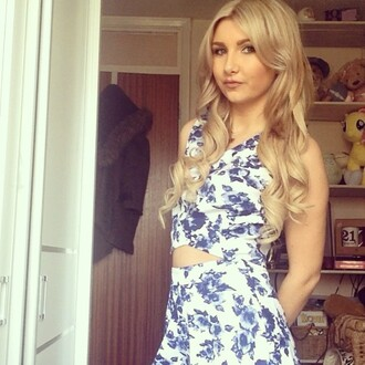 romper onenationclothing top and shorts set crop top and high waisted shorts floral blue and white summer outfits holiday outfit co ord co-ordinates co-ord co ord outfit