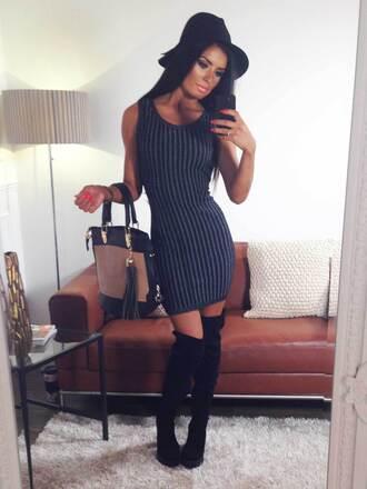 dress pink boutique knit dress casual black stripes