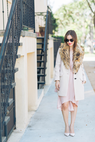 m loves m blogger dress coat shoes sunglasses jewels bag make-up