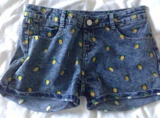shorts denim pineapple jeans dark blue button yellow fruits cute fashion nice denim shorts pants be fashionable