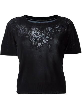 t-shirt shirt cropped t-shirt cropped women lace black top