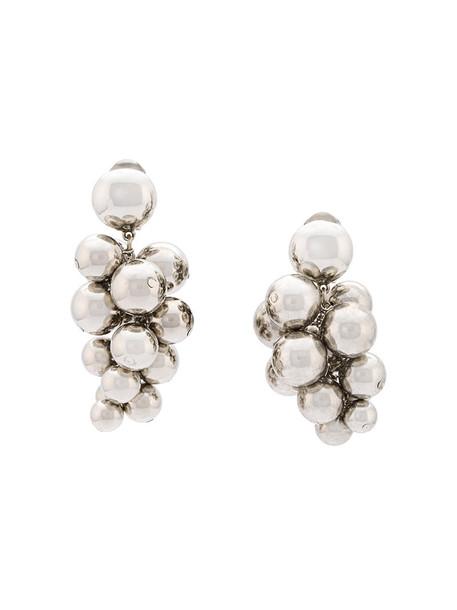 oscar de la renta women beaded earrings grey copper metallic jewels