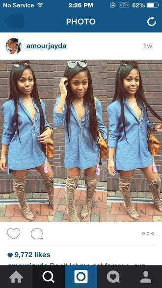 shoes dope amourjayda mcm oversized shirt shirt dress denim knee high boots peep toe