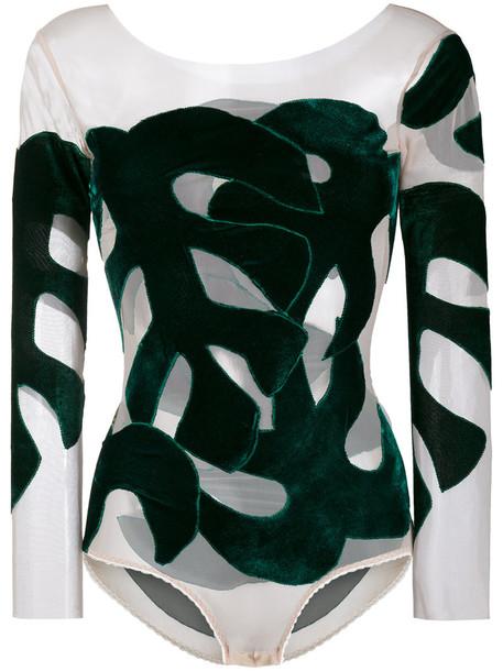 Alexia Hentsch bodysuit women spandex silk velvet green leaves underwear