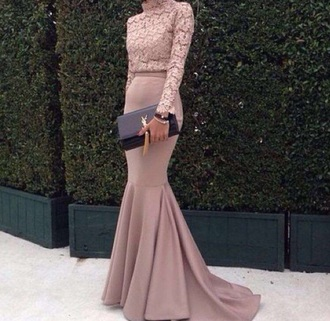 dress pink nude floral lace ysl