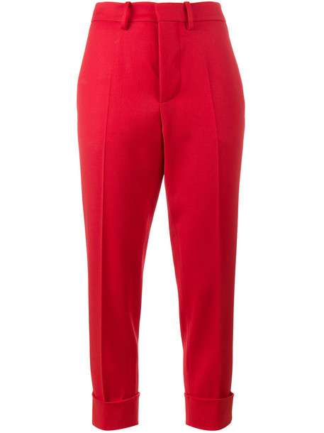 MARNI cropped women spandex wool red pants