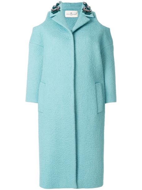 coat women cold blue silk wool