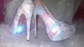 shoes,spring,summer,heels,custom,bling,pink,purple,silver,blue,air jordan,high heels,crystal,nba