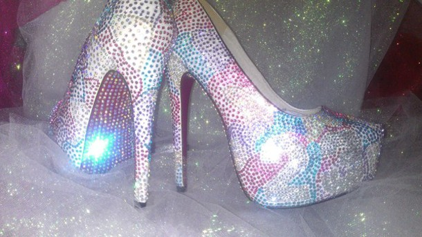 Shoes: spring, summer, heels, custom, bling, pink, purple, silver ...