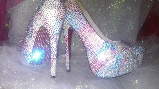 e7b07b228 shoes spring summer heels custom bling pink purple silver blue air jordan  high heels crystal nba