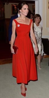 dress,red dress,gown,red,kate middleton,pumps
