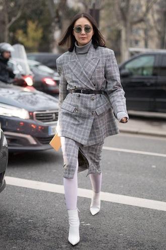 jacket blazer grey blazer plaid blazer plaid skirt plaid skirt midi skirt sunglasses boots white boots tights