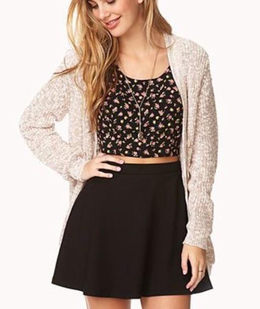 top cute top iloveit floral tank top fashion black crop top