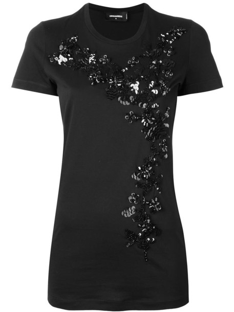 Dsquared2 t-shirt shirt t-shirt women plastic embellished cotton black top