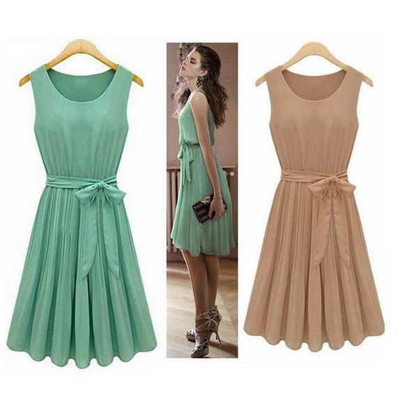 2014 New Summer Casual Women Elegance Bow Pleated Chiffon Vest Dresses Sleeveless Dress Vestidos, Green, Brown, S, M, L, XL d108 | Amazing Shoes UK