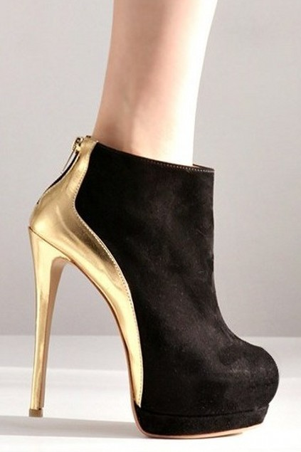 Gold Black Faux Suede Platform Stiletto High Heels Ankle Boots