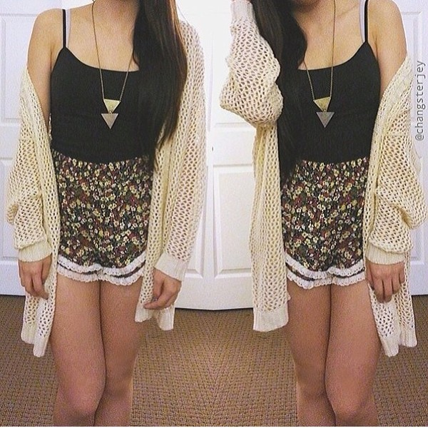 shirt cardigan knit jewels skirt black white knitted sweater knitted cardigan necklace jewelry floral daisy lace tank top crop tops cream beige cute love summer spring tumblr jacket brand designer tumblr outfit spring outfits spring summer fashion shorts nude