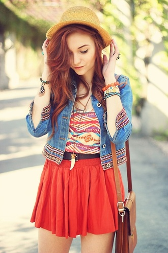 jacket blood orange skirt straw hat denim jacket aztec shark tooth brown leather satchel bracelets beautiful fashion nice hat top shirt perfect likeforlike dress tribal pattern coat skirt colorful bright boho jewels spring style summer outfits t-shirt summerhype summerlife embroidered denim jacket