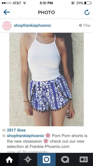 shorts blue tank top white blue shorts make-up pom pom shorts pom poms white tank top halter top white halter top